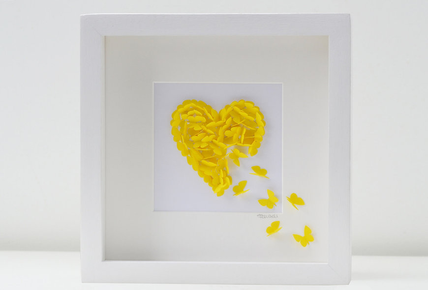 Framed 3D Yellow Butterfly Heart
