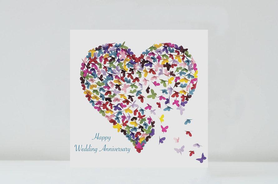 Kaleidoscope Happy Wedding Anniversary Butterfly Card