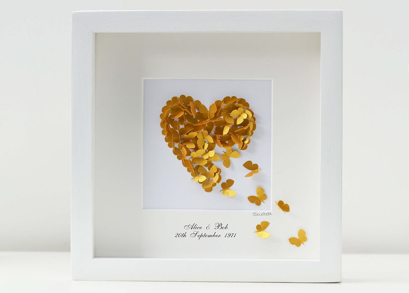 Framed Personalised Golden Wedding Anniversary Picture