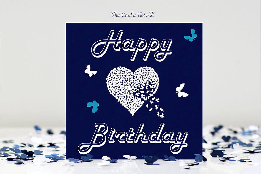 Happy Birthday White Heart Butterfly Card