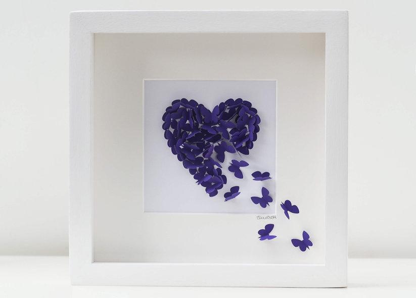 Framed 3D Purple Butterfly Heart