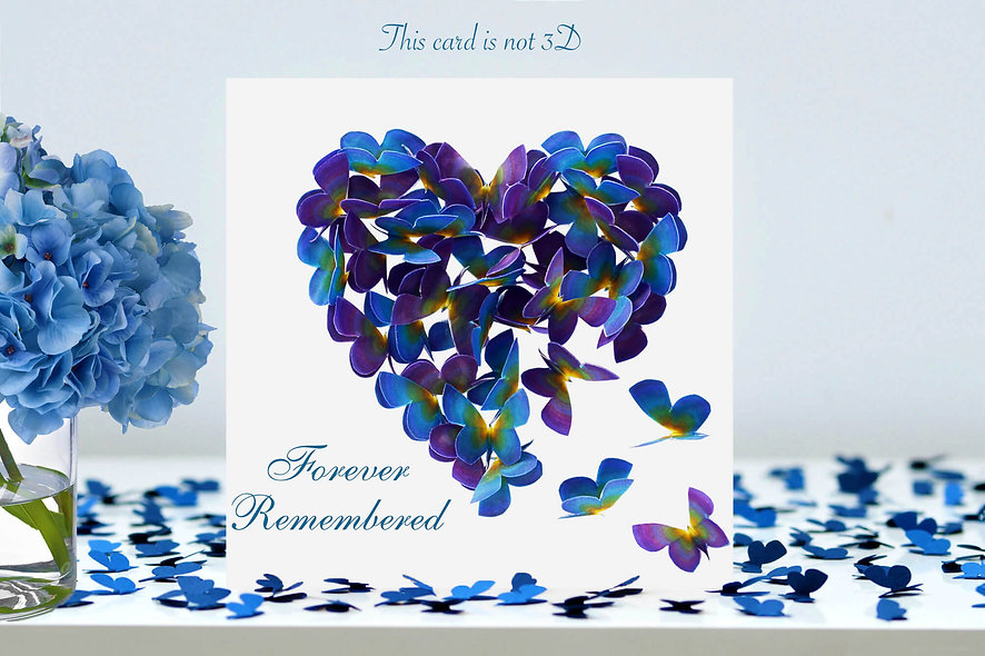 Forever Remembered Forget Me Not Heart Card