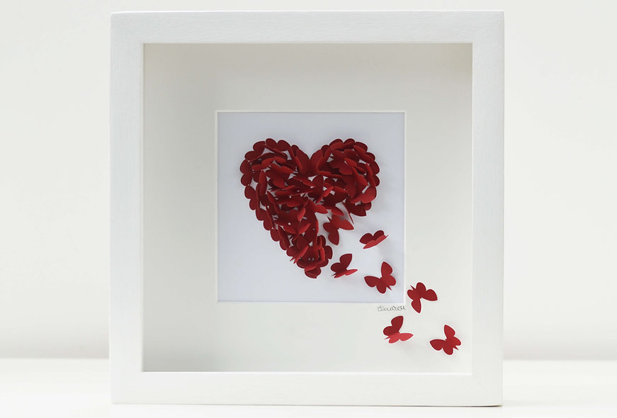 Framed 3D Ruby Butterfly Heart, Personalised Ruby Wedding Anniversary Picture