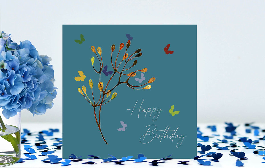 Butterfly Stem Happy Birthday Card - teal background