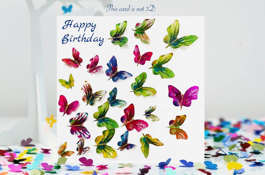 Multicoloured Butterfly Birthday Card, Butterflies Happy Birthday