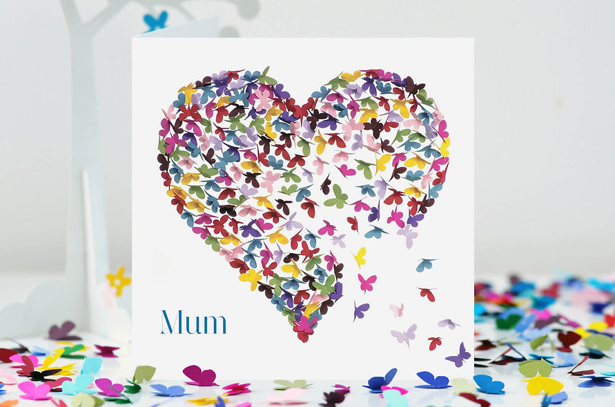 Mum Butterfly Kaleidoscope Heart Card