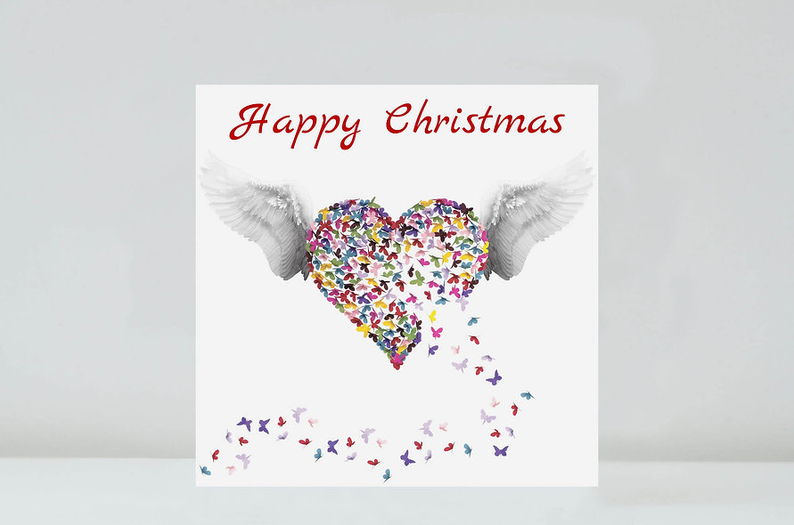 Kaleidoscope Angel Christmas Card, Multicoloured Christmas Card