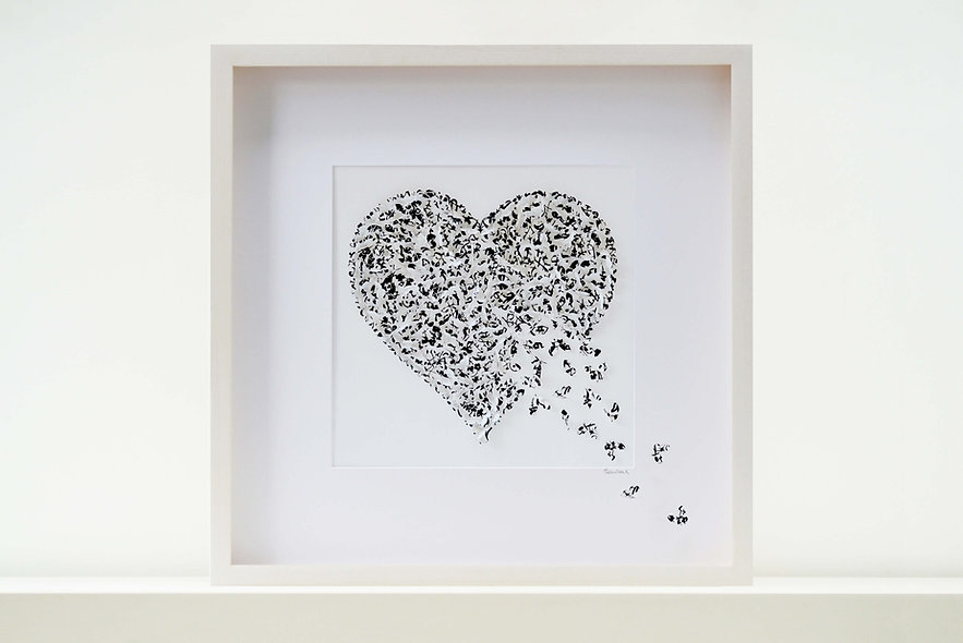 Lace Butterfly Heart Picture 50x50cm