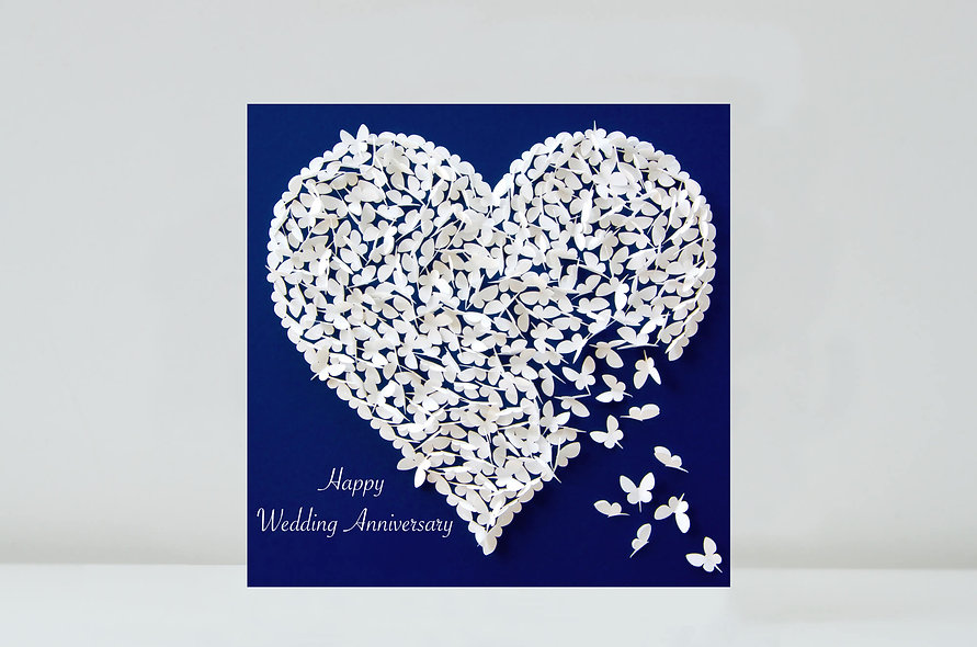 Wedding Anniversary Butterfly Heart Card