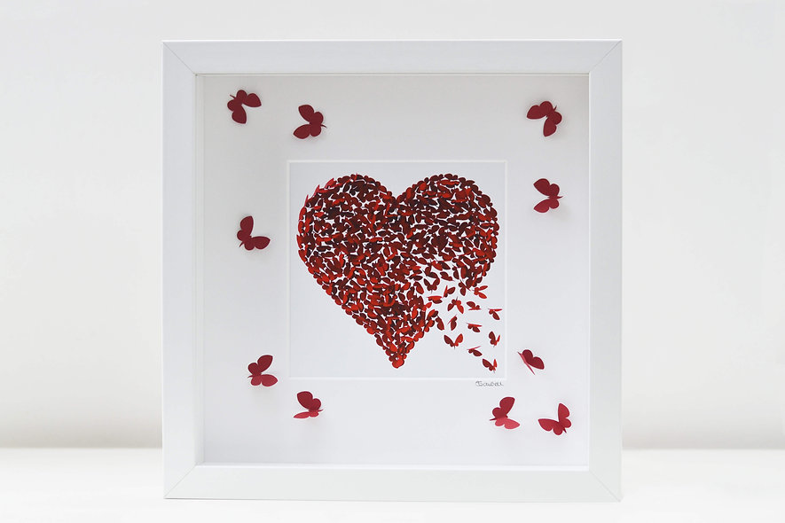 Framed Ruby Heart Print with 3D Ruby Butterflies on the Mount