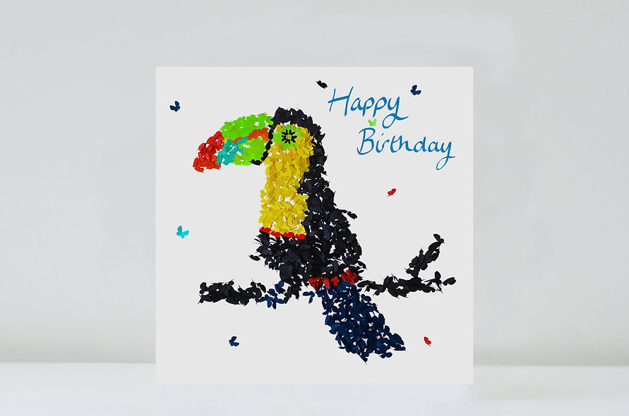 Toucan Birthday Card, Butterfly Toucan Card