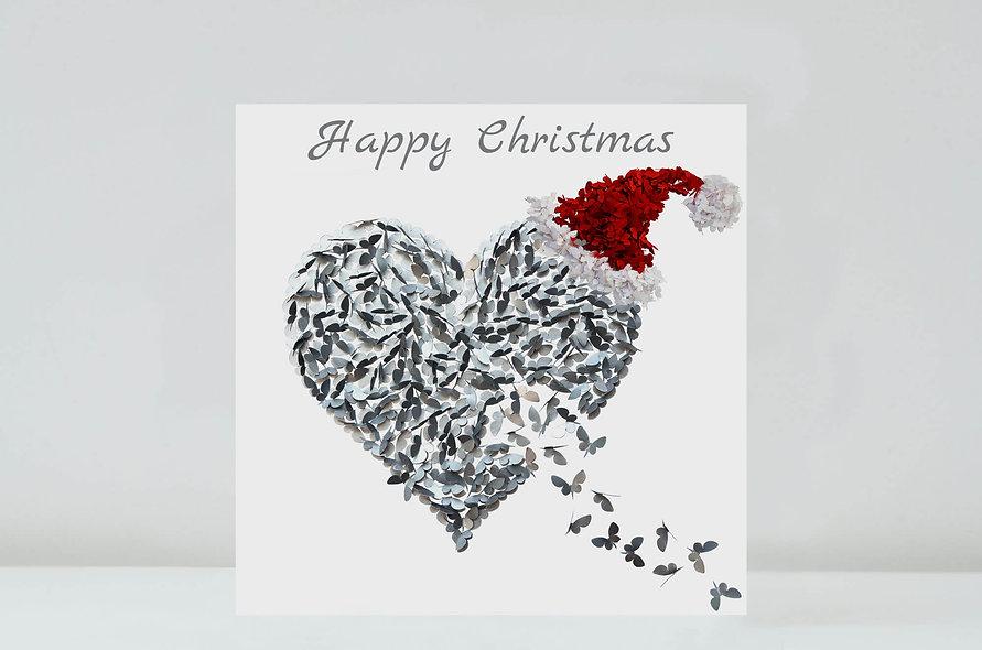 Butterfly Heart Christmas Card, Silver Butterfly Love Card