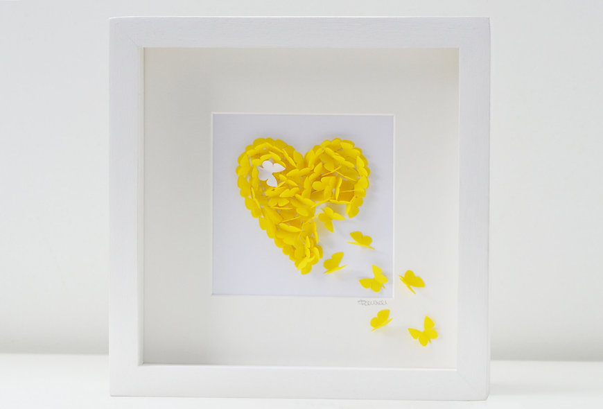 Framed 3D Yellow Butterfly Heart with Accent White Butterfly