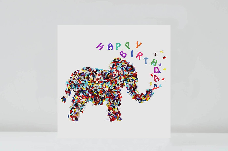 Elephant Butterfly Birthday Card, Happy Birthday Elephant Card