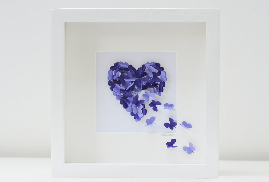 Framed 3D Purple and Lilac Butterfly Heart, Your choice of butterfly colours