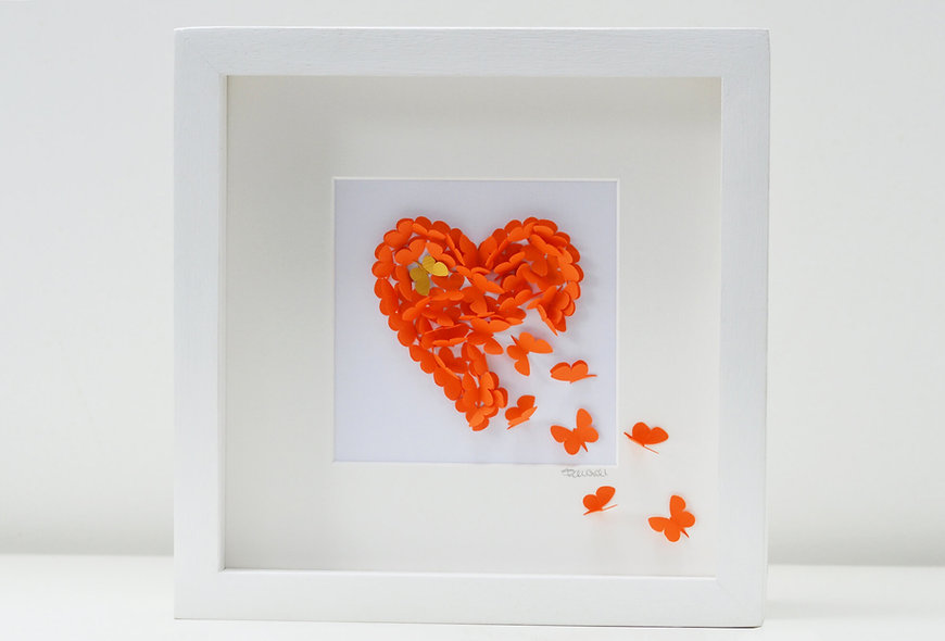 Framed 3D Orange Butterfly Heart with Gold Accent  Butterfly