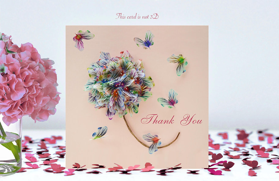 Thank You Butterfly Flower Card