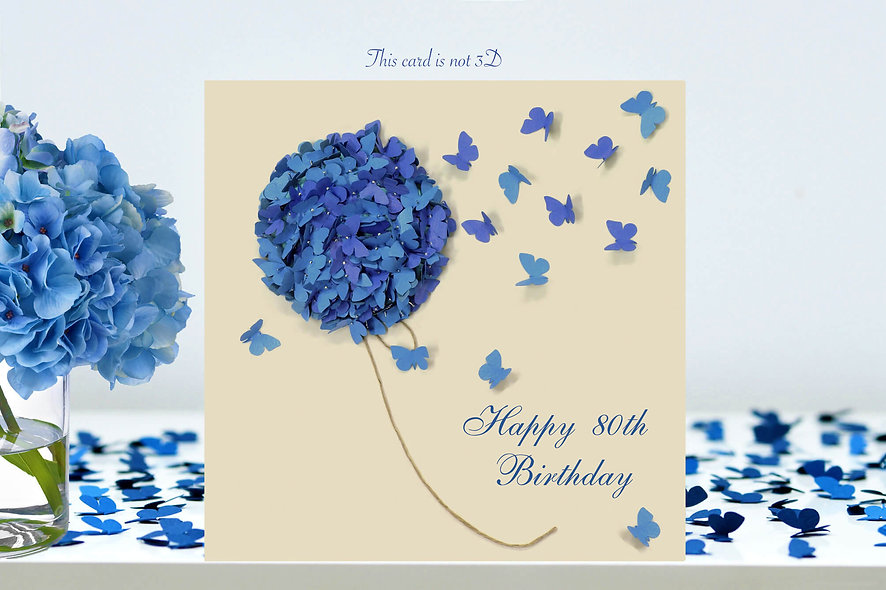 80th Hydrangea Butterfly Birthday Card