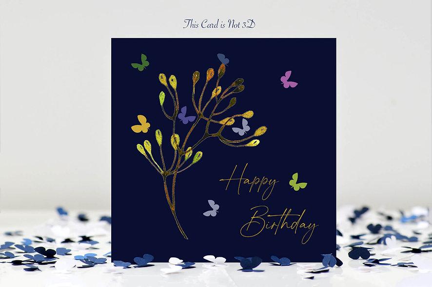 Butterfly Stem Happy Birthday Card - midnight blue background