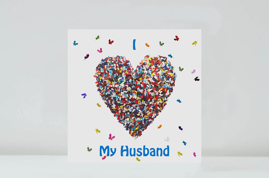 Butterfly Husband Love Card, Romantic Husband Birthday Card