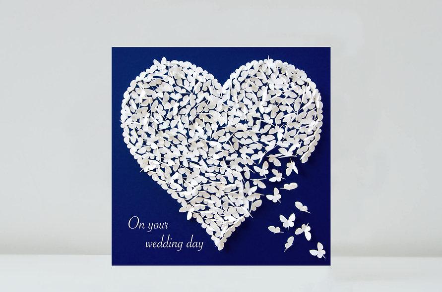 White Butterfly Heart Wedding Card