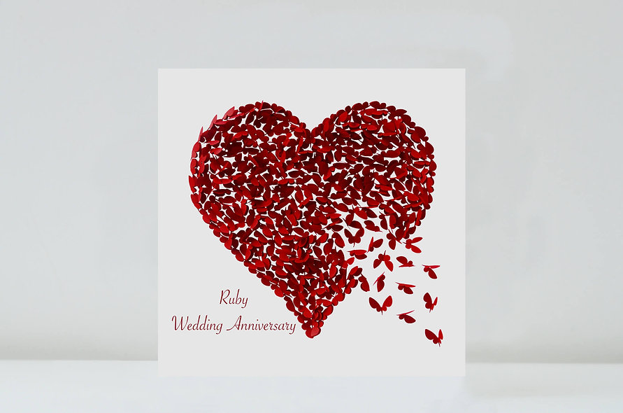 Butterfly Ruby Wedding Anniversary Heart Card