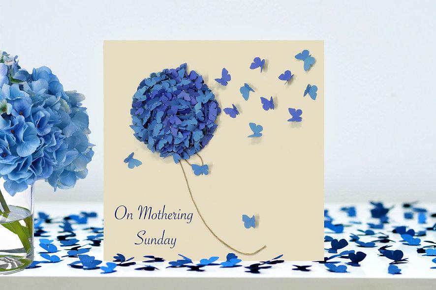 On Mothering Sunday Blue Hydrangea Card