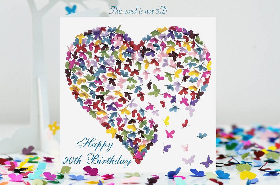 90th Birthday Heart Card