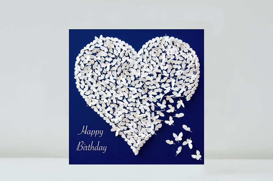 Butterfly White Heart Birthday Card, Birthday Love Card