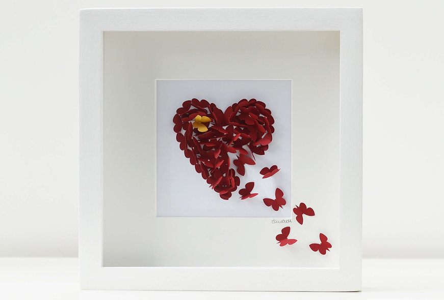 Framed Ruby Butterfly Heart With Accent Gold Butterfly