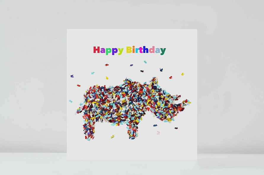 Rhino Birthday Card, Butterfly Animal Card