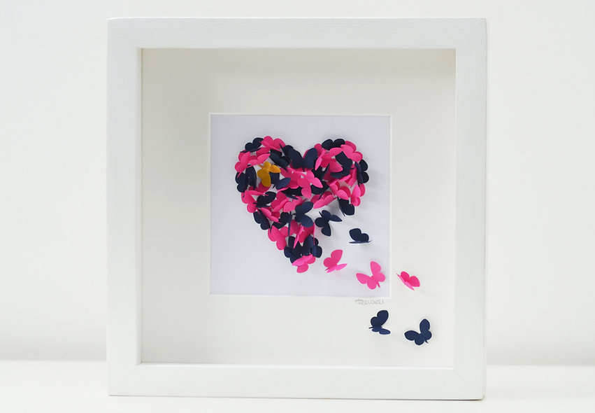 Framed Pink & Blue 3D Butterfly Heart, Choice of butterfly colours