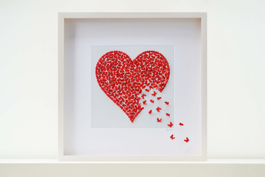 Strawberry Red Butterfly Heart (50x50cm)