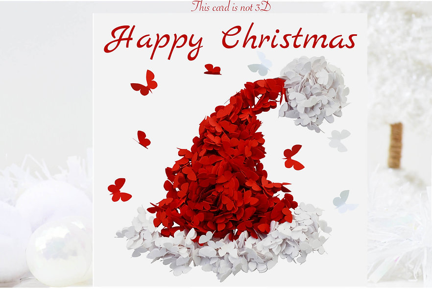 Butterfly Christmas Hat Christmas Card