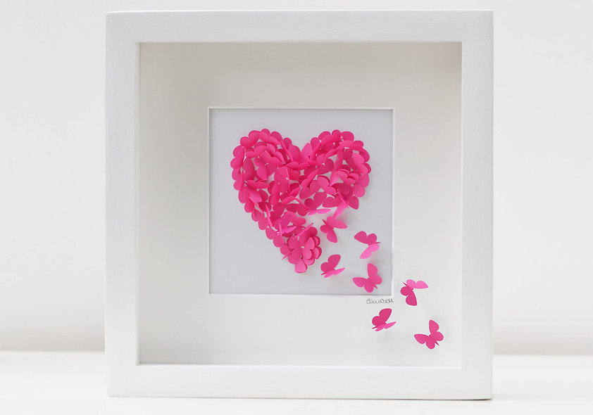 Shocking Pink Butterfy Heart Picture