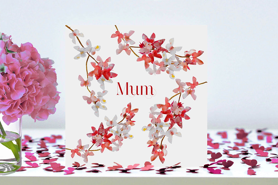 Mum Cherry Blossom Butterfly Card