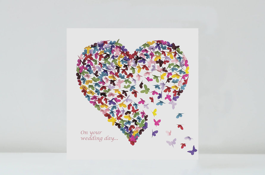 Butterfly Heart Wedding Card