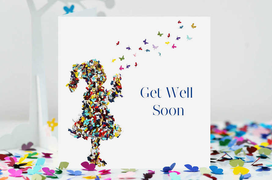 Get Well Soon Butterfly Kisses Card