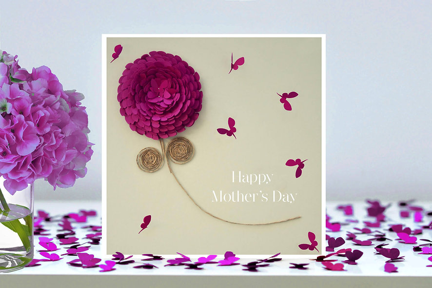 Happy Mother's Day Pink Chrysanthemum Flower Card