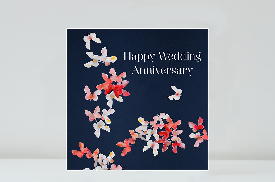 Cherry Blossom Anniversary Card, Butterfly Anniversary Card