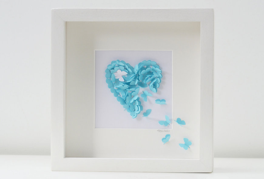 Framed Baby Blue Butterfly Heart With/Without Accent Butterfly