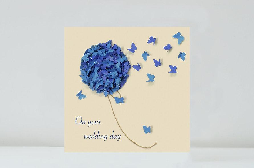 Butterfly Blue Hydrangea Wedding Card