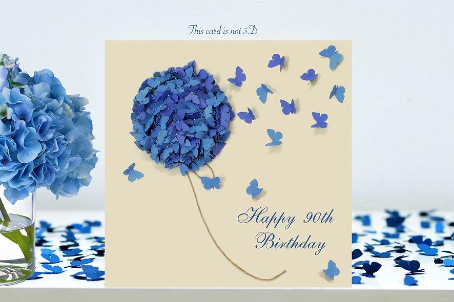 90th Hydrangea Butterfly Birthday Card