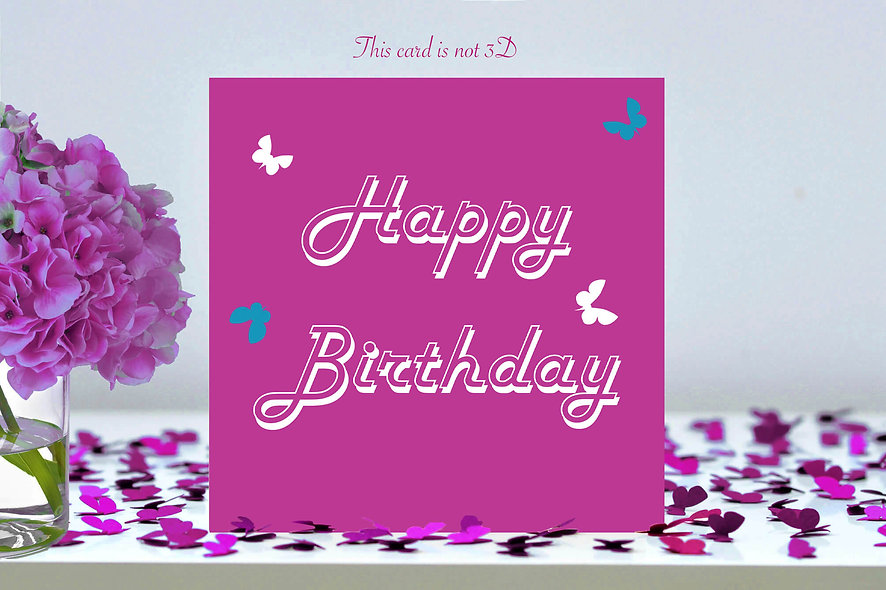 Happy Birthday Pink Butterfly Card