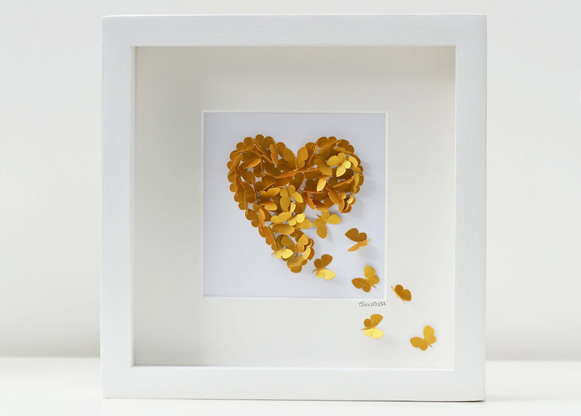 Framed 3D Gold Butterfly Heart, Personalised Golden Wedding Anniversary Heart