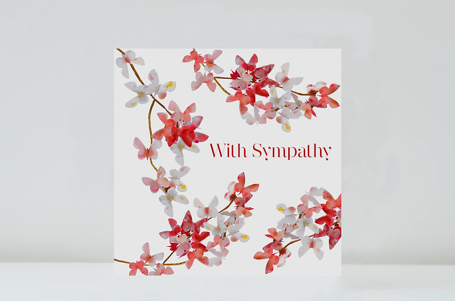 Cherry Blossom With Sympathy Card, With Sympathy Flower Card