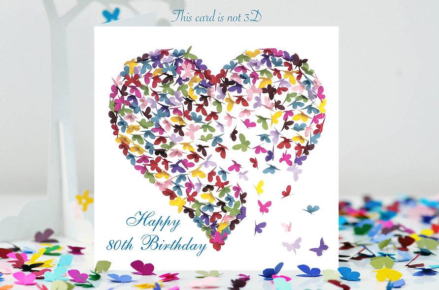 80th Birthday Butterfly Heart Card