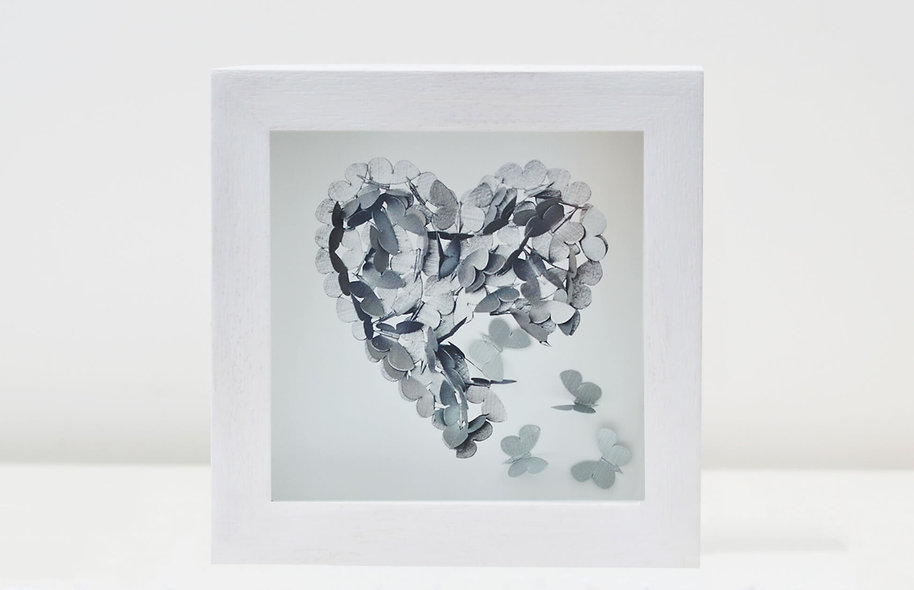 Framed Silver Heart  Print with 3 Handpainted 3D Butterflies