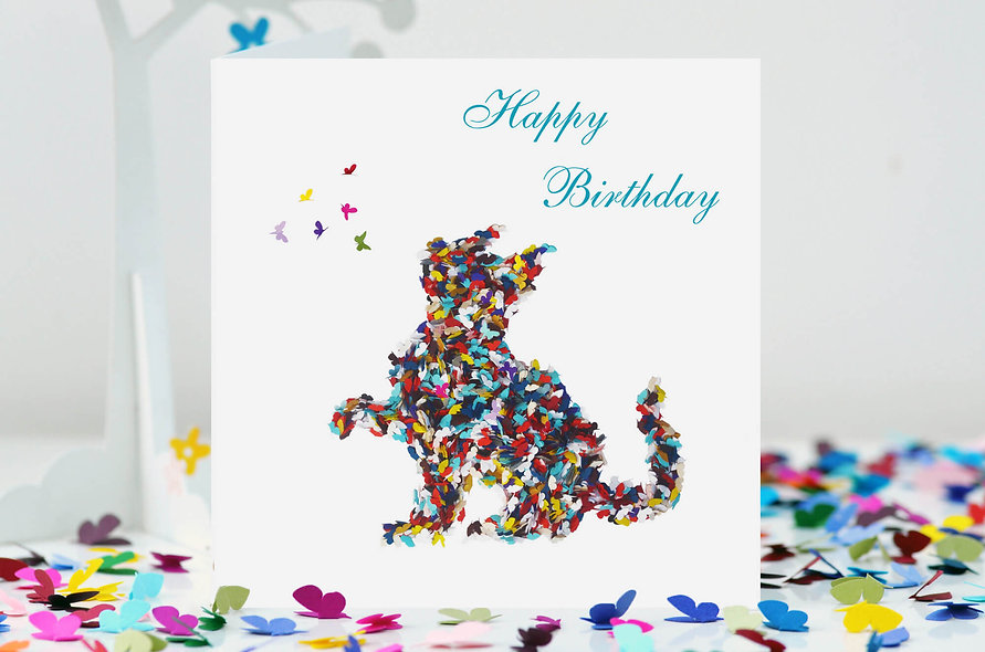 Cat Happy Birthday Card, Butterfly Cat Birthday Card