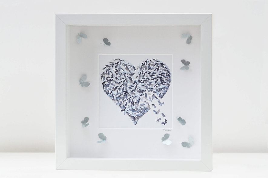 Framed Silver Heart Print with 3D Butterflies on the mount.